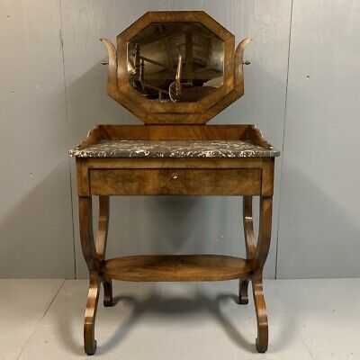 Antique French mahogany and marble top dressing table