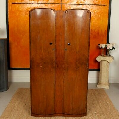 Vintage Art Deco Walnut Wardrobe Gents Compactum Wardrobe