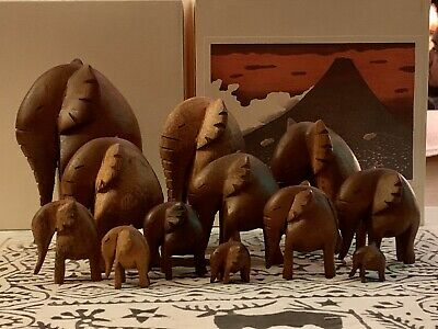 Rare Vintage Hand-Carved Wooden Figurines - Set of 12 African Elephants With Box
