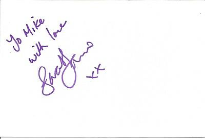 Sarah-Jane Vincent actor signed white card dedicated in person autograph Z2151