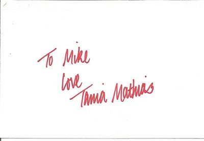 Tania Mathias actor signed white card dedicated in person autograph Z2144