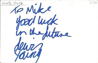 Lewis Young actor signed white card dedicated in person autograph Z2095