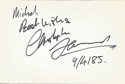 Christopher Hammond actor signed white card dedicated in person autograph Z2082