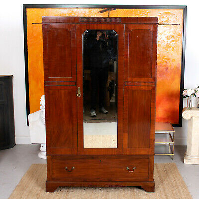 Antique Wardrobe Mirrored Mirrored Carved 19th Century Armoire Victorian