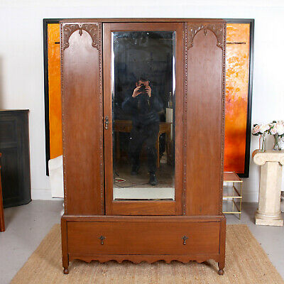Antique Oak Wardrobe Arts & Crafts Carved 19th Century Armoire Victorian