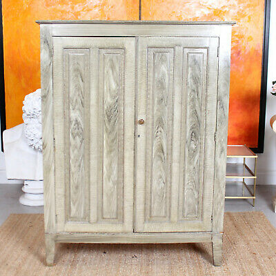 Antique Gents Wardrobe Edwardian Green Scumbled Painted Compactum Amoire