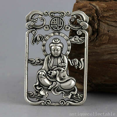 Collect China Old Tibet Silver Hand-Carve Guan Yin Auspicious Hollow Out Pendant