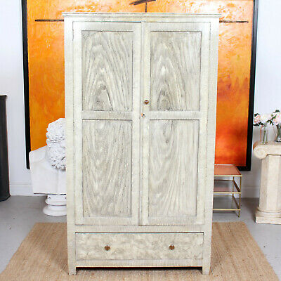 Antique Wardrobe Edwardian Green Scumbled Painted Amoire