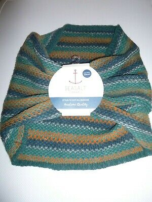 Seasalt Cornwall Abundant Merino Wool Snood BNWT new tags Green Orange Grey