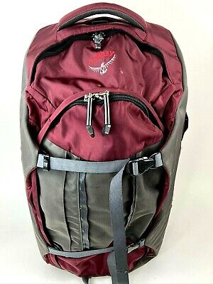Osprey Sojourn 80L Backpack/Rolling Travel Luggage Backpack Maroon Gray Wheeled