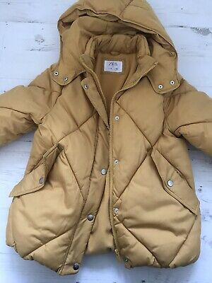 Girls ZARA Mustard Hooded Winter Jacket - age 10 Years - Beautiful condition