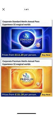 Merlin Annual Pass 20% Discount, Standard from £111.20pp, Premium from £151.20pp