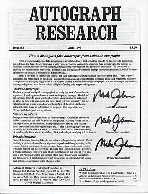Autograph Research #64 April 1996; How to distinguish fake autographs from real
