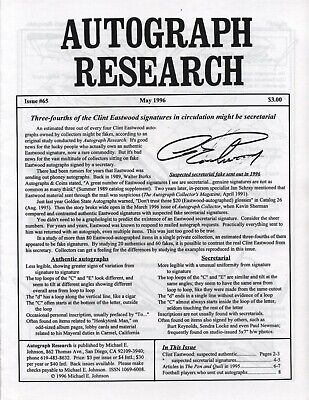 Autograph Research #65 May 1996; Clint Eastwood secretarial signature study