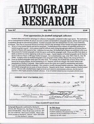 Autograph Research #67 July 1996; Football autograph collecting opportunities