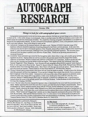 Autograph Research #70 October 1996; Autographed space covers market overview