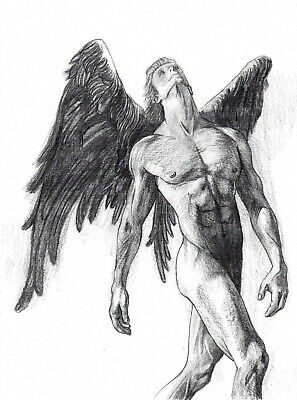 Original abstract drawing of muscular angel nude man size A4, signed