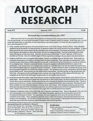 Autograph Research #73 January 1997; Personal buy recommendations for 1997