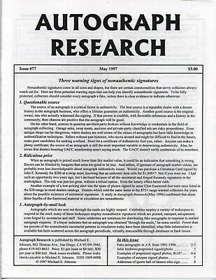 Autograph Research #77 May 1997; Three warning signs of nonauthentic signatures