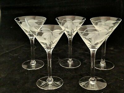 """Set of 5 McBride Cameo Frosted Leaf Clear 5 3/8"""" Liquor Cocktails Nick and Noras"""