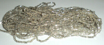 Vintage 1920s Czech Bugle Beads Dark Tarnished Silver Lined Long Hank Glass