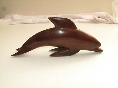 "Vtg Mcm Hand Carved Rosewood Dolphin Porpoise Bottle Nosed 13"" Sculpture"