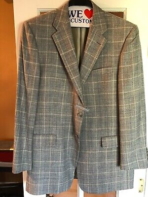 HICKEY FREEMAN Mens Gray Wool & Cashmere and linen Jacket Sport Coat 42L