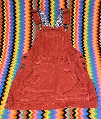 Girls Fat Face Red Cord Pinafore Skirt Age 7-8