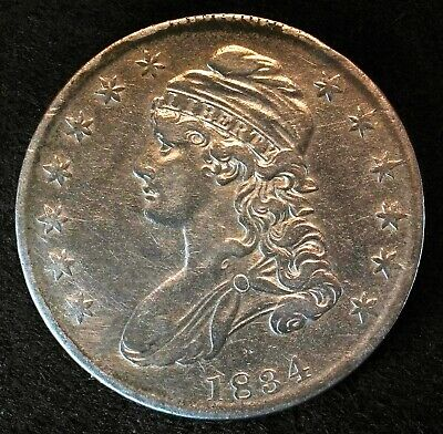 1834 Capped Bust Half Dollar Small Date, Letters & Stars Silver U.S. Coin
