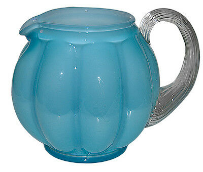 "Fenton Blue Overlay #192 - 6"" Squat Jug / Pitcher"
