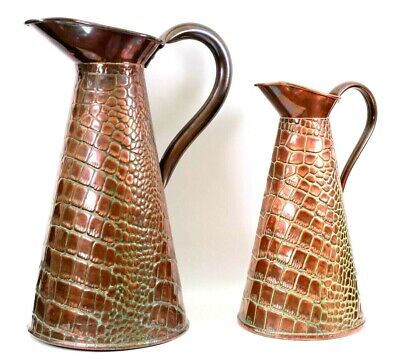 Arts Crafts English Farmhouse Pair of Hammered Copper Jugs Circa 1880