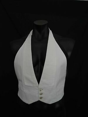White Cotton Pique, Marcella, Backless Waistcoat by Welmar & Detachable Buttons