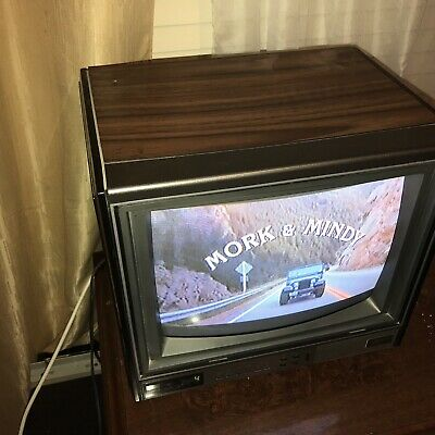 "Vintage Zenith System 3 13"" Color CRT Television Wood Grain CUBE Shape Red LED"