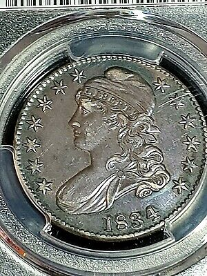 1834 50 cent Capped Bust PCGS Genuine Cleaned AU Detail Lg.Date, Large Letters