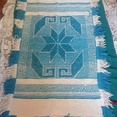 LARGE TRIBAL RUG wall hanging BLUE + WHITE fringe tapestry BOHO vtg 60s 70s mcm
