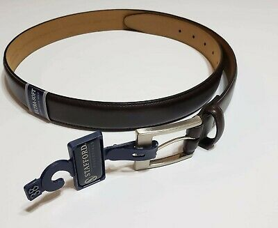NWT Stafford Mens Brown Leather Belt