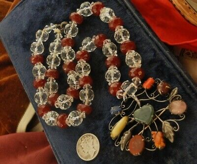 Antique 19thC CHINESE Export TOURMALINE Carved ROCK CRYSTAL Sterling NECKLACE