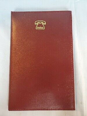 """Vintage 1980's Classic Telephone Address Book Red Faux Leather 5"""" X 8"""""""