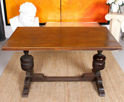Antique Oak Refectory Dining Table Rustic Country Arts & Crafts