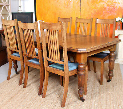 Antique Oak Dining Table And 6 Chairs Joseph Fitter Arts & Crafts Winding C19th