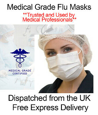Official Medical Grade Surgical Face Mask Flu Virus Corona White - UK Stock