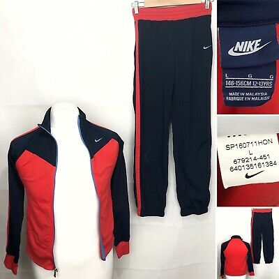 NIKE T40 Girls tracksuit Age 12-13 Years In Blue & Red Used Track Suit
