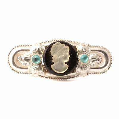 Vintage Art Deco Czech cameo cabochon floral silver pin brooch
