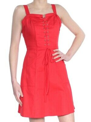 XOXO $59 Womens New 1633 Red Lace Up Fit + Flare Cocktail Dress XS Juniors B+B