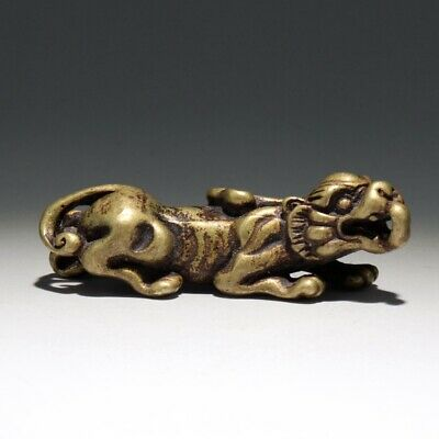 Collectable China Old Bronze Hand-Carve Myth Kylin Moral Auspicious Fine Pendant