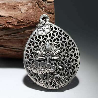 Collectable China Old Miao Silver Carve Blooming Lotus And Frog Delicate Pendant