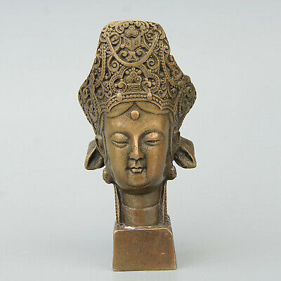 Collect Antique Bronze Hand-Carved Buddhism Statue Auspicious Delicate Big Seal