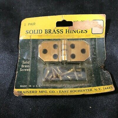 Vintage NOS Solid Brass Hinges 1 Pair