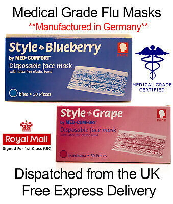 Official Medical Grade Surgical Face Mask Flu Virus Corona Grape/Blue - UK Stock