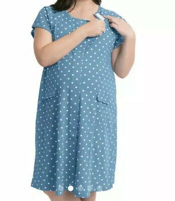 Kindred Bravely Labor And Delivery Nursing Gown Size Small Blue Polka Dot